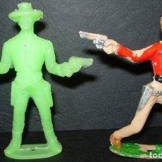 Figuras de Goma y PVC: LOTE 2 FIGURAS DE PLÁSTICO COWBOYS VAQUEROS DE COMANSI. Lote 127591858