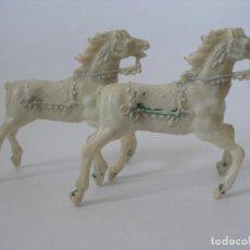 Figuras de Goma y PVC: DOS CABALLOS MEDIEVALES PLÁSTICO AÑOS 60. Lote 127746715