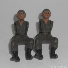 Figuras de Goma y PVC: LOTE DE 2 MOTORISTAS MILITARES FABRICADOS CREO POR TEIXIDO EN LOS 50 O 60. Lote 127963135