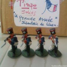 Figuras de Goma y PVC: TIMPO, SOLDADOS FRANCESES INFANTERIA, GUERRAS NAPOLEÓNICAS, WATERLOO, COMP.LAFREDO TAMAÑO BRITAINS. Lote 128492604