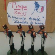 Figuras de Goma y PVC: TIMPO, SOLDADOS DE INFANTERÍA FRANCESA, GUERRAS NAPOLEÓNICAS, WATERLOO, COMP.LAFREDO TAMAÑO BRITAINS. Lote 128599983