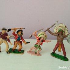 Figuras de Goma y PVC: LOTE 4 FIGURAS PVC OESTE COWBOY VAQUERO INDIO REAMSA JECSAN COMANSI PECH TEIXIDO. Lote 128829807