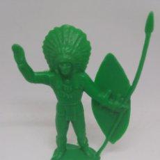 Figuras de Goma y PVC: ANTIGUA FIGURA DEL OESTE EN PLASTICO. JEFE INDIO. 90 MM. Lote 129733403