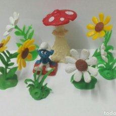 Figuras de Goma y PVC Schleich: LOTE PITUFOS SCHLEICH PEYO FLORES PLANTAS SETA PITUFO SMURFS ACCESORIOS FIGURAS PVC. Lote 130272520