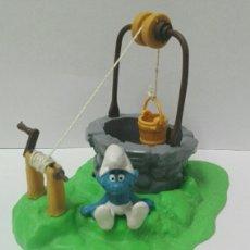 Figuras de Goma y PVC Schleich: LOTE PITUFOS SCHLEICH PEYO POZO PITUFO SENTADO FIGURAS PVC CASA PITUFOS. Lote 130273730