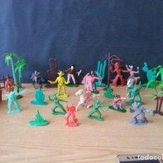 Figuras de Goma y PVC: LOTE DE FIGURAS DE INDIOS Y VAQUEROS DE PLÁSTICO VARIAS MARCAS COMANSI PECH JECSAN LAFREDO REAMSA . Lote 130805968