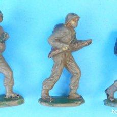 Figuras de Goma y PVC: 3 TRES FIGURAS DE MARINES AMERICANOS, EN GOMA, AÑOS 50/60 DEL SIGLO XX. ORIGINALES JECSAN REAMSA PEC. Lote 122259403