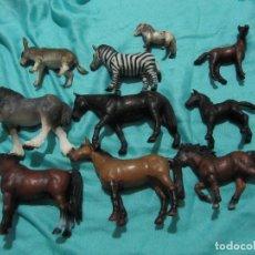 Figuras de Goma y PVC: LOTE 10 CABALLOS..BURRO..ZEBRA..TODAS SCHLEICH. Lote 131665794