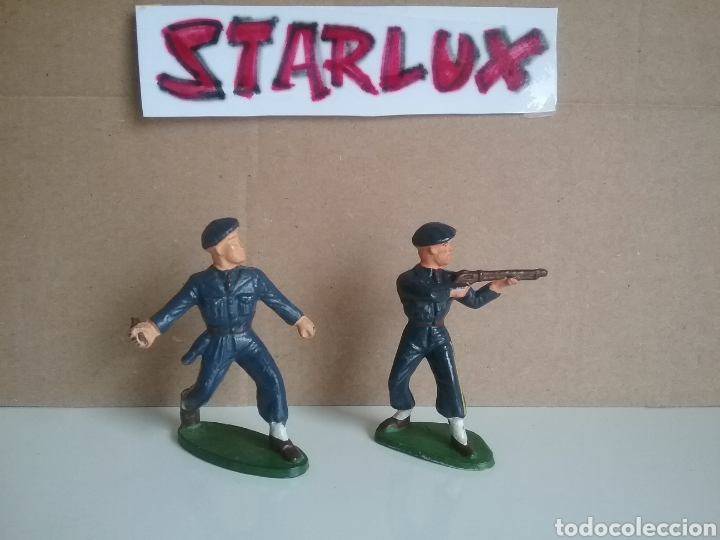 COMANDO SOLDADOS FRANCESES DE MONTAÑA,STARLUX FRANCIA, AÑOS 50/70, 2 GUERRA MUNDIAL TAMAÑO BRITAINS. (Juguetes - Figuras de Goma y Pvc - Starlux)