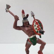 Figuras de Goma y PVC: GUERRERO INDIO . REALIZADO POR LAFREDO . SERIE GRANDE - AÑOS 60. Lote 132504778