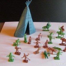 Figuras de Goma y PVC: MONTAPLEX. FIGURAS DE INDIOS Y VAQUEROS. Lote 132795734