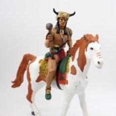 Figuras de Goma y PVC: INDIO CABALLO LOCO A CABALLO - HEROES OF THE WEST - COMANSI. Lote 132944754