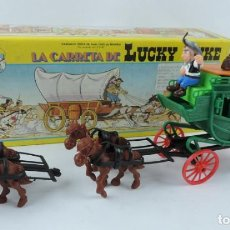 Figuras de Goma y PVC: DILIGENCIA LUCKY LUKE, REALIZADA POR COMANSI. NUEVA Y EN SU CAJA. DIFICIL MODELO CON CABALLOS Y COND. Lote 133188722