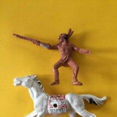 Figuras de Goma y PVC: FIGURA INDO JECSAN CON CABALLO _LEY279. Lote 133556494