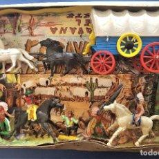 Figuras de Goma y PVC: SOTORRES: CAJA CARAVANA DEL OESTE. JUGUETES EN BUEN ESTADO. CAJA EN MAL ESTADO.. Lote 133609482