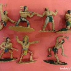 Figuras de Goma y PVC: REAMSA. LOTE SERIE INDIOS APACHE (1960) 60 MM.. Lote 133992322