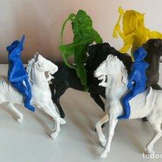 Figuras de Goma y PVC: LOTE INDIOS VAQUEROS Y CABALLOS REIGON GRAN TAMAÑO. Lote 134138834