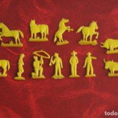 Figuras de Goma y PVC: CONJUNTO DE FIGURAS RODEO DEL OESTE. ORIGINALES MONTAPLEX. AÑOS 60.. Lote 135424390