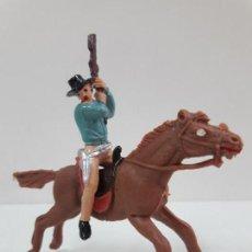 Figuras de Goma y PVC: VAQUERO - COWBOY A CABALLO . REALIZADO POR JECSAN . AÑOS 60. Lote 135493798