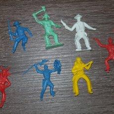Figuras de Goma y PVC: LOTE FIGURAS OESTE INDIOS, AMERICANOS SOLDADOS AÑOS 70/ 80 PLÁSTICO DURO. Lote 135505099