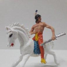 Figuras de Goma y PVC: GUERRERO INDIO A CABALLO . REALIZADO POR JECSAN . AÑOS 60 / 70. Lote 135594550