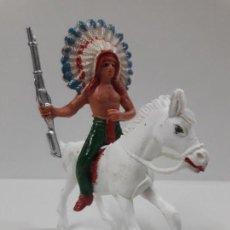 Figuras de Goma y PVC: JEFE INDIO A CABALLO . REALIZADO POR JECSAN . AÑOS 60 / 70. Lote 135594730