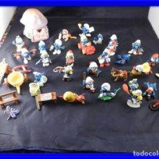 Figuras de Goma y PVC: CONJUNTO DE FIGURAS Y OBJETOS DE PITUFOS MAS LA CASA SCHTROUMPFETTE. Lote 136035422