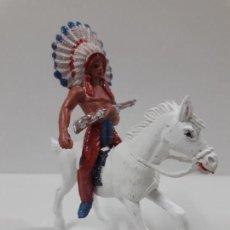 Figuras de Goma y PVC: JEFE INDIO A CABALLO . REALIZADO POR JECSAN . AÑOS 60 / 70. Lote 247206205