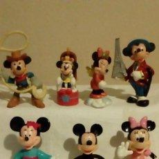 Figuras de Goma y PVC: LOTE DE 7 FIGURAS DE DISNEY - MICKEY MOUSE Y MINNIE - VAQUERO, ALAS, FRANCES, JAPONESA, REY, ROSA,. Lote 136269298