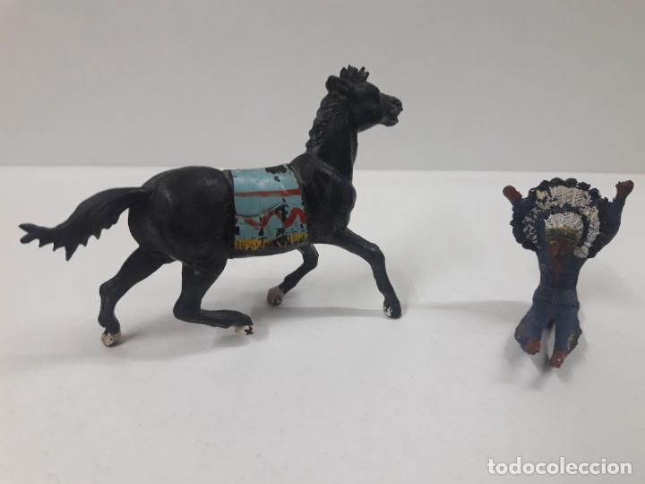 Figuras de Goma y PVC: JEFE INDIO MUERTO SOBRE CABALLO . REALIZADO POR GAMA . AÑOS 50 EN GOMA - Foto 4 - 136283654