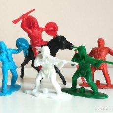 Figuras de Goma y PVC: LOTE FIGURAS INDIOS REAMSA MONOCROMAS MONOCOLOR. Lote 136949286