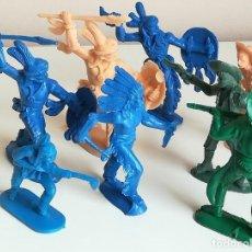 Figuras de Goma y PVC: LOTE FIGURAS INDIOS Y VAQUEROS MONTEPLAST MONOCROMAS MONOCOLOR. Lote 136951722