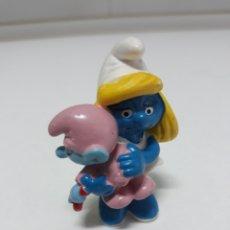 Figuras de Goma y PVC: FIGURA GOMA PITUFINA SCHLEICH 1983. Lote 137748172