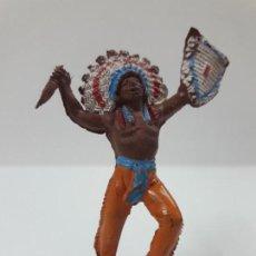 Figuras de Goma y PVC: GUERRERO INDIO . REALIZADO POR PECH . SERIE PEQUEÑA . AÑOS 50 EN GOMA. Lote 137827826