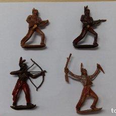 Figuras de Goma y PVC: 4 INDIOS COMANSI. Lote 138109198