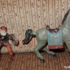 Figuras de Goma y PVC: MORO CON CABALLO,BEN YUSUF,JECSAN,AÑOS 60. Lote 138274454
