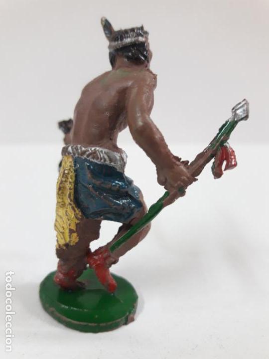Figuras de Goma y PVC: GUERRERO INDIO CON LANZA Y CABELLERA . REALIZADO POR LAFREDO . AÑOS 50 EN GOMA . ALTURA 5,5 CM - Foto 4 - 138936138