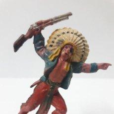 Figuras de Goma y PVC: JEFE INDIO . FIGURA REAMSA Nº 100 . AÑOS 50 EN GOMA. Lote 138964630