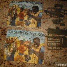 Figuras de Goma y PVC: SOBRE MONTAPLEX ESCLAVOS NEGROS Y RANCHO OREGON. Lote 139462906