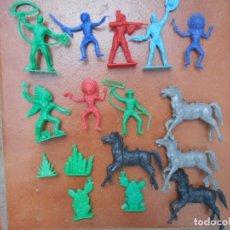 Figuras de Goma y PVC: LOTE 16 PIEZAS FIGURAS INDIOS VAQUEROS CABALLOS CAPTUS CHUBERAS KIOSKO COMANSI AÑOS 60 70. Lote 139544030