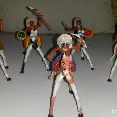 Figuras de Goma y PVC: LOTE 5 INDIOS A CABALLO GOMA Y PVC SOTORRES.. Lote 139552378