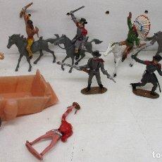 Figuras de Goma y PVC: COMANSI LOTE FIGURAS, VAQUEROS, COWBOYS, INDIOS, CONFEDERADOS. Lote 139724548