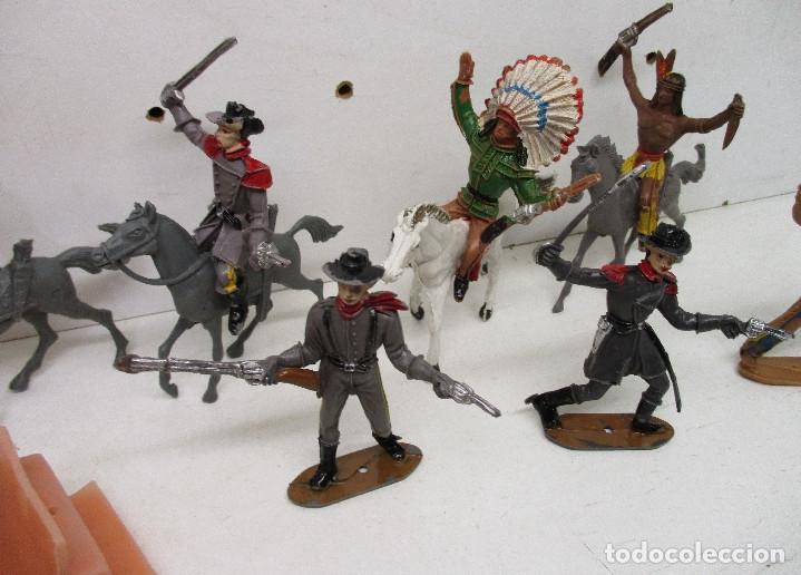 Figuras de Goma y PVC: Comansi lote figuras, vaqueros, cowboys, indios, confederados - Foto 4 - 139724548
