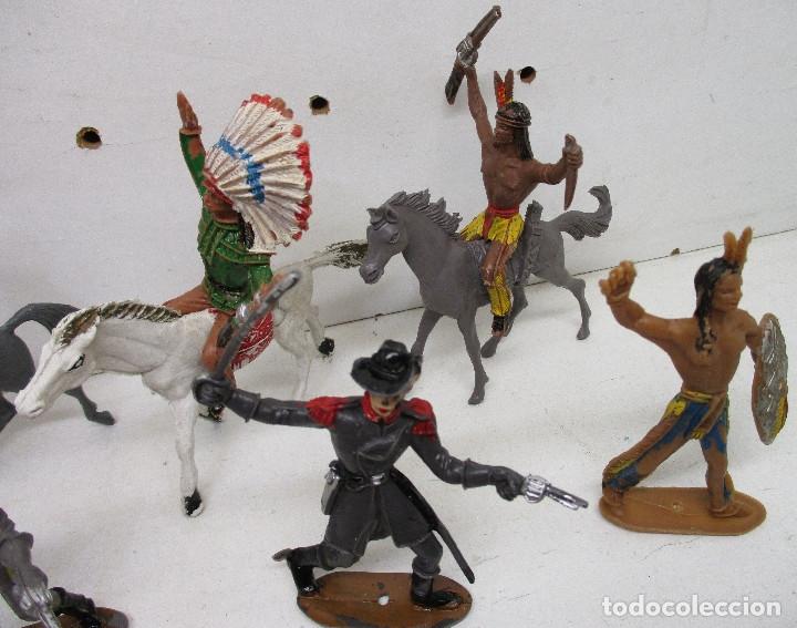 Figuras de Goma y PVC: Comansi lote figuras, vaqueros, cowboys, indios, confederados - Foto 5 - 139724548