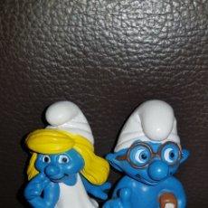 Figuras de Goma y PVC: PAREJA DE PITUFOS SMURFS PEYO SCHLEICH GERMANY. Lote 139758326