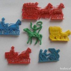 Figuras de Goma y PVC: SEIS FIGURAS PLANAS SERJAN CARAVANAS DEL OESTE VAQUERO Y SOLDADOS AÑOS 70. Lote 139832350