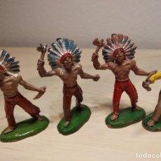 Figuras de Goma y PVC: INDIOS Y VAQUERO JECSAN. Lote 140563038