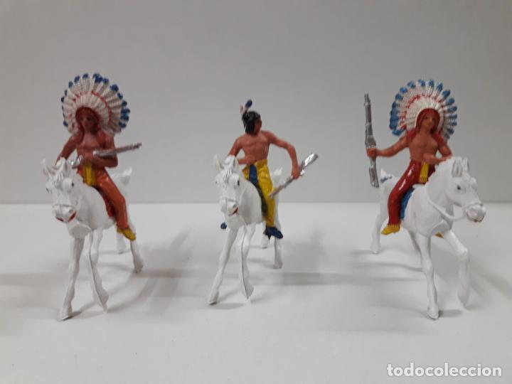 Figuras de Goma y PVC: INDIOS Y VAQUEROS A CABALLO . REALIZADOS POR JECSAN . AÑOS 60 - Foto 2 - 140616302