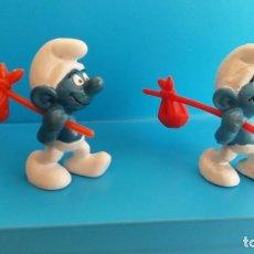 Figuras de Goma y PVC: PITUFOS CON ATILLOS - VARIANTE - AÑO 1975 - ORIGINALES SCHLEICH - SMURF SCHLUMPF- PVC - PITUFO. Lote 140872154