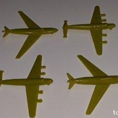Figuras de Goma y PVC: MONTAPLEX : ANTIGUO LOTE DE4 AVIONES COLOR PISTACHO AÑOS 70. Lote 141125834